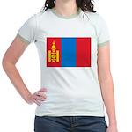 Mongolia Flag Jr. Ringer T-Shirt