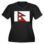 Nepal Flag Women's Plus Size V-Neck Dark T-Shirt