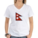Nepal Flag Women's V-Neck T-Shirt
