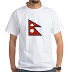 Nepal Flag White T-Shirt