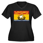 New Brunswick Flag Women's Plus Size V-Neck Dark T