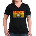 New Brunswick Flag Women's V-Neck Dark T-Shirt