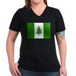 Norfolk Island Flag Women's V-Neck Dark T-Shirt