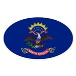 North Dakota Flag Sticker (Oval 10 pk)