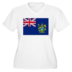 Pitcairn Islands Flag Women's Plus Size V-Neck T-S