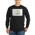 Rhode Island Flag Long Sleeve Dark T-Shirt