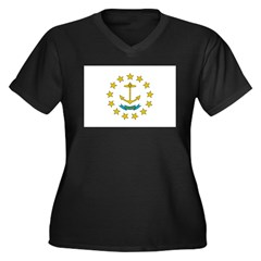 Rhode Island Flag Women's Plus Size V-Neck Dark T-