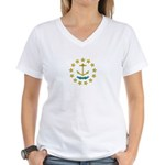 Rhode Island Flag Women's V-Neck T-Shirt