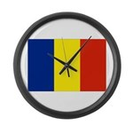 Romania Flag Large Wall Clock
