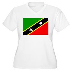 Saint Kitts Nevis Flag Women's Plus Size V-Neck T-