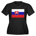 Slovakia Flag Women's Plus Size V-Neck Dark T-Shir