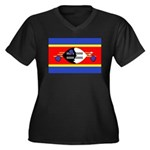 Swaziland Flag Women's Plus Size V-Neck Dark T-Shi