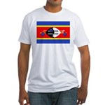 Swaziland Flag Fitted T-Shirt