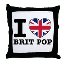 I love Brit Pop Throw Pillow