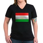Tajikistan Flag Women's V-Neck Dark T-Shirt