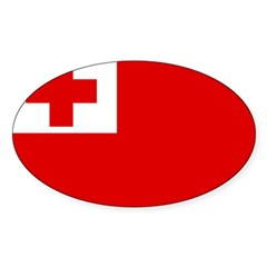 Tonga Flag Sticker (Oval 10 pk)