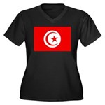 Tunisia Flag Women's Plus Size V-Neck Dark T-Shirt