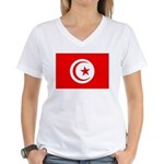 Tunisia Flag Women's V-Neck T-Shirt