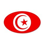 Tunisia Flag 38.5 x 24.5 Oval Wall Peel