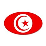 Tunisia Flag 22x14 Oval Wall Peel