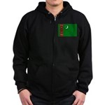 Turkmenistan Flag Zip Hoodie (dark)