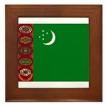 Turkmenistan Flag Framed Tile
