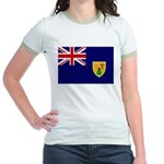 Turks and Caicos Flag Jr. Ringer T-Shirt