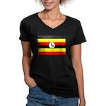 Uganda Flag Women's V-Neck Dark T-Shirt