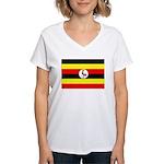 Uganda Flag Women's V-Neck T-Shirt