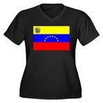 Venezuela Flag Women's Plus Size V-Neck Dark T-Shi
