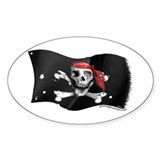 Caribbean Pirate Flag Oval Decal