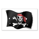 Caribbean Pirate Flag Rectangle Decal