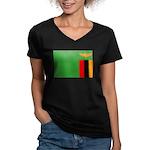 Zambia Flag Women's V-Neck Dark T-Shirt