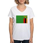Zambia Flag Women's V-Neck T-Shirt