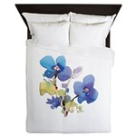 Watercolor Flowers Queen Duvet