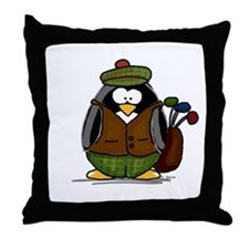 Golf Penguin Throw Pillow