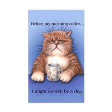 Coffee Cat Sticker (Rectangular)