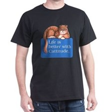 Cattitude Black T-Shirt