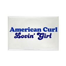 American Curl Cat Loving Girl Rectangle Magnet