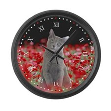 Russian Blue Cat Large Wall Clock