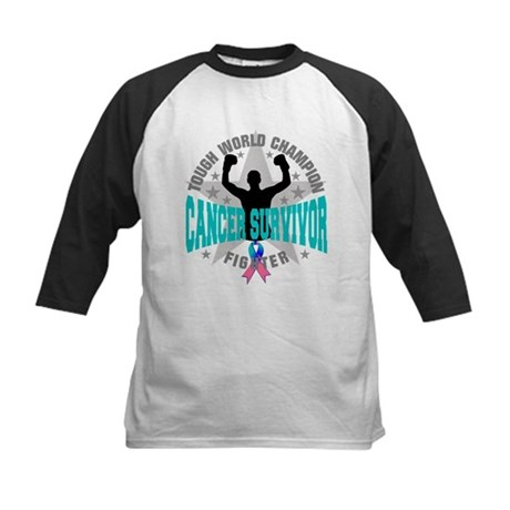 Thyroid Cancer Tough Survivor Kids Baseball Jersey