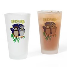 Retro 70's Night Owl Drinking Glass