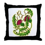 Stylized Bull Thistle Throw Pillow