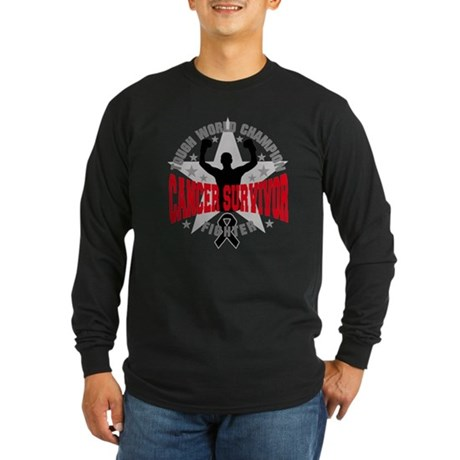 Skin Cancer Tough Men Survivor Long Sleeve Dark T-