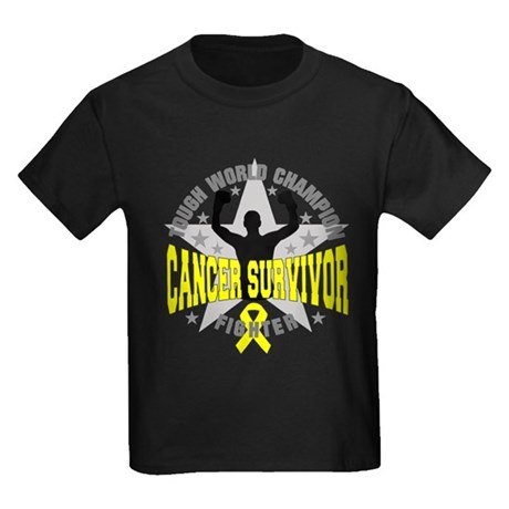 Skin Cancer Tough Men Survivor Kids Dark T-Shirt
