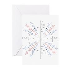 unit circle funny math geek Greeting Cards (Pk of