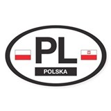 PL Car Decal - Polska (Poland) - Oval Decal