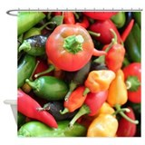 Chili Pepper Collage Shower Curtain