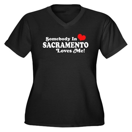 Sacramento Women's Plus Size V-Neck Dark T-Shirt