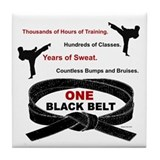 ONE Black Belt Tile Coaster